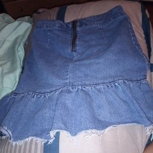 Zip up jean skirt